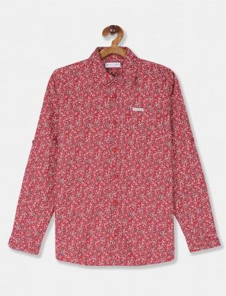 U S Polo Assn printed boys red shirt