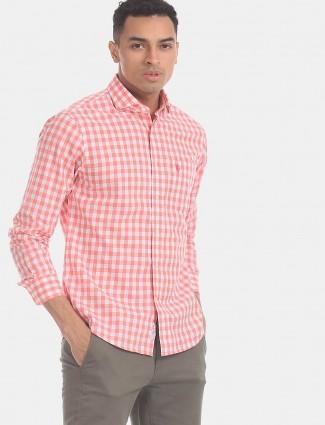 U S Polo Assn red checks casual shirt