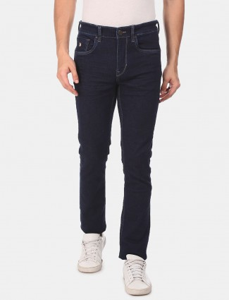 U S Polo Assn solid navy slim fit mens jeans