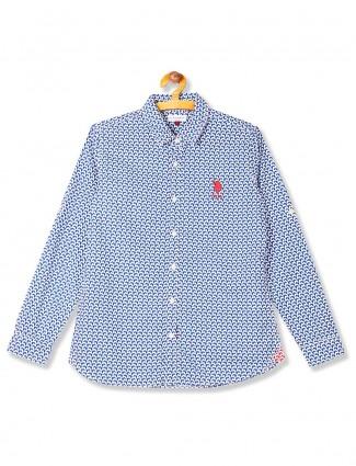 U S Polo blue printed cotton shirt