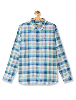 U S Polo checks beige and green shirt