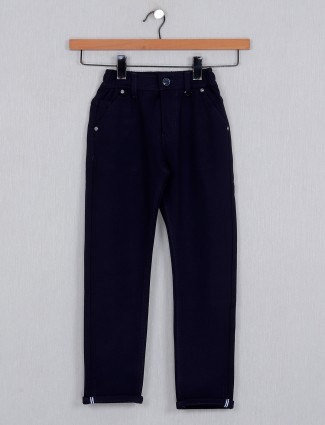 U-tex navy solid cotton trouser for boys
