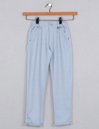 U-tex sky blue solid cotton trouser for boys