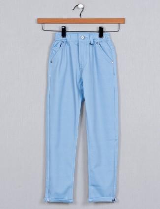 U-tex solid blue boys cotton casual trouser