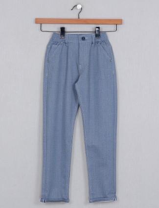 U-tex solid blue slim fit boys cotton trouser