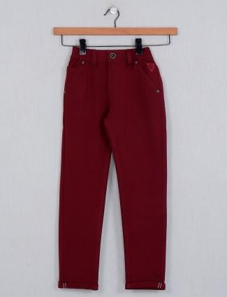 U-tex solid maroon slim fit cotton trouser