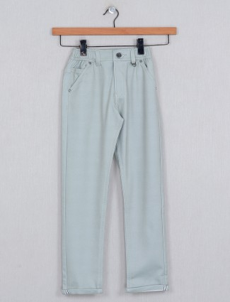 U-tex solid pista green boys cotton trouser