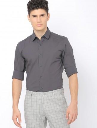 UCB grey cotton casual shirt for men