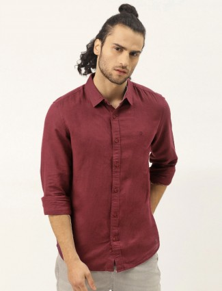 UCB maroon solid style cotton casual shirt
