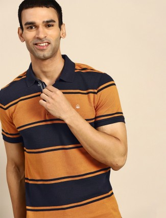 UCB orange stripe cotton slim fit t-shirt