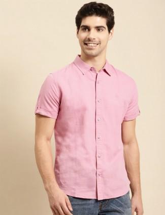 UCB pink linen casual shirt for men