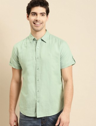 UCB presented green casual shirt in linen