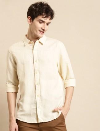 UCB presented pastel yellow tint casual linen shirt