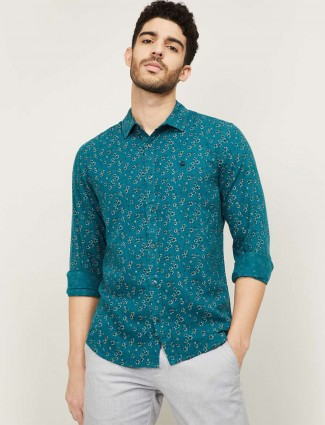 UCB printed green shirt for men in cotton