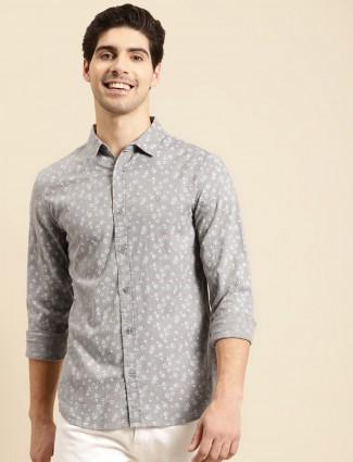 UCB printed navy colour linen casual shirt for men
