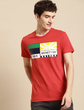 UCB printed red cotton casual shirt
