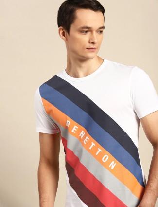 UCB printed white shade slim fit t-shirt