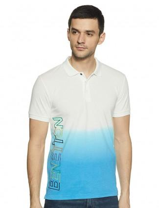 UCB solid aqua white slim fit t-shirt