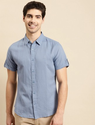 UCB solid blue tint casual shirt to style