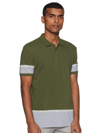 UCB solid olive green slim fit t-shirt