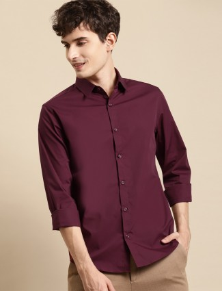 UCB solid style cotton shirt in wine hue