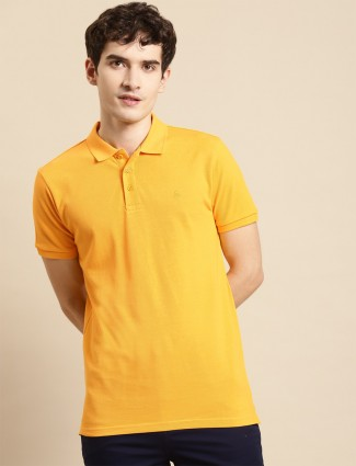 UCB solid yellow cotton casual shirt