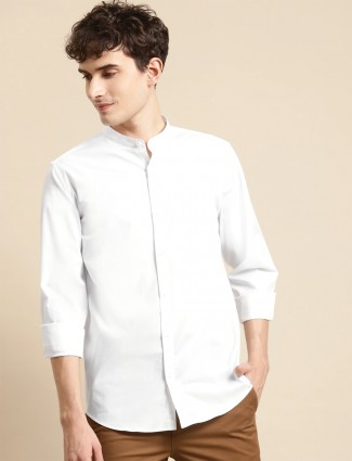 UCB white cotton casual shirt for mens