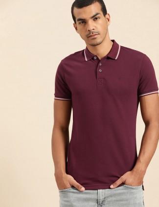 UCB wine maroon casual wear solid t-shirt