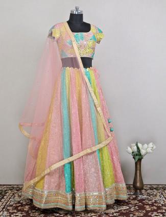 Ultra-modern multi hue wedding lehenga choli in georgette