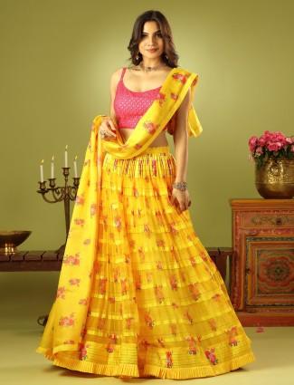 Ultra-modern sunshine yellow wedding lehenga choli in tissue silk