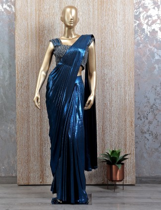 Ultramarine blue shade ready to wear saree with readymade blouse