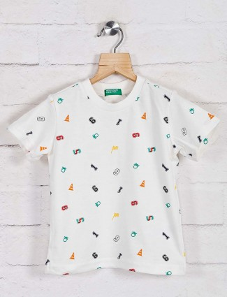 United Colors of Benetton white printed cotton t-shirt