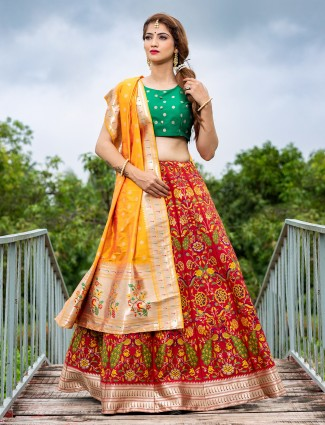Unstitched red special wedding function ehenga choli in silk