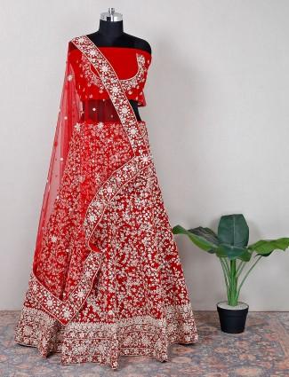Unstitched red velvet wedding wear lehenga choli