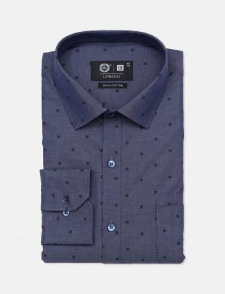 Urbano blue printed cotton shirt