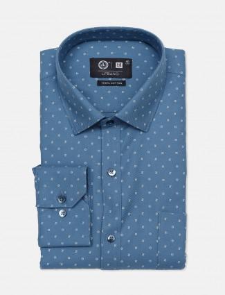 Urbano blue printed party wear mens shirt