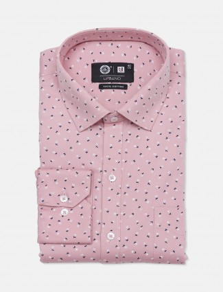 Urbano peach printed pattern cotton shirt