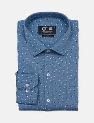 Urbano printed blue cotton party wear shirt for mens