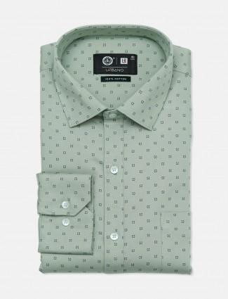 Urbano printed cotton pista green party wear shirt