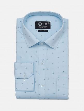 Urbano slim fit sky blue printed shirt