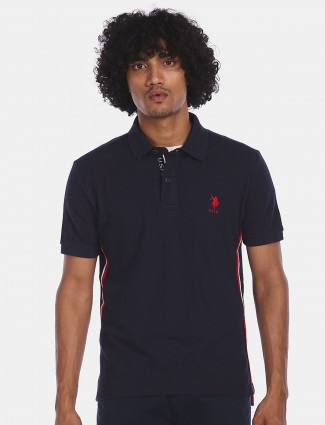 US POLO black solid cotton t-shirt