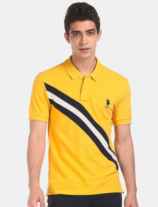 US POLO cotton casual t-shirt in yellow