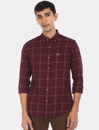 US POLO maroon checks style casual shirt for men
