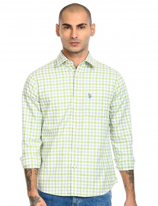 US POLO presented striped light green shirt