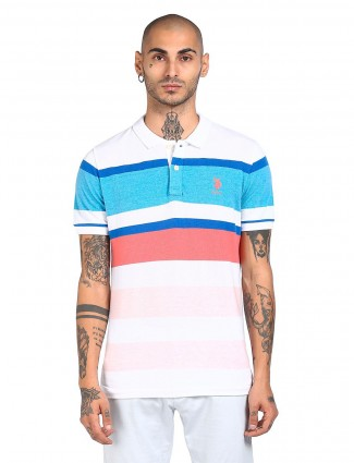 US Polo presented white slim-fit casual T-shirt
