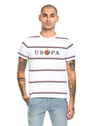 US Polo printed casual top in white