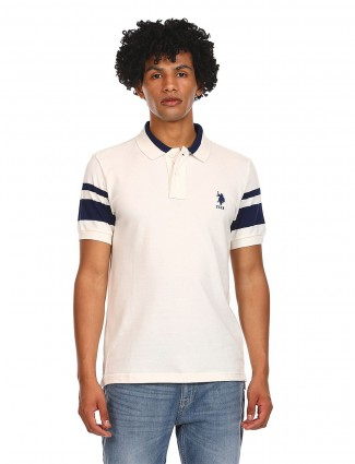 US Polo slim fit casual T-shirt in Cream tint