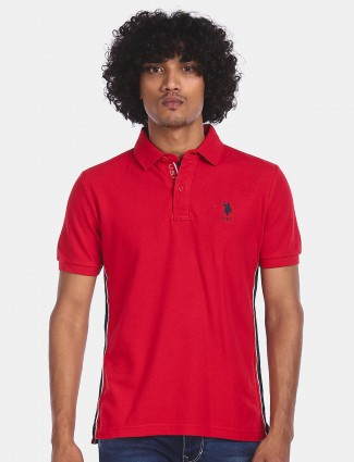 US POLO solid cotton t-shirt in red
