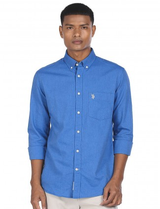 US POLO solid style mens casual shirt in lavender blue hue