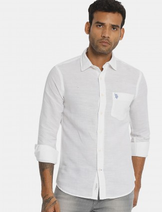 US POLO solid white cotton mens shirt
